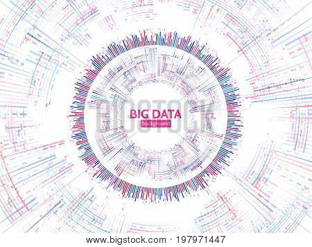 Visual data stream information. Abstract data conection structure. Futuristic information complexity. Big data visualization. Vector illustration eps 10