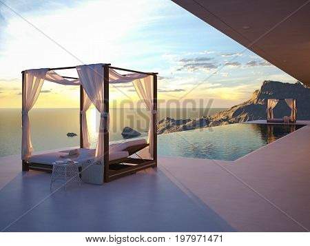 3d rendering. beautiful sunset at the infinity pool with a nice view.