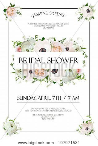Bridal shower vector template Invitation card design with light pink garden rose flowers anemone flower ranunculus eucalyptus green leaf herb mix text copy space floral background frame. Cute Invite