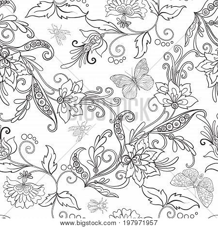 Seamless pattern, background with vintage style flowers and animals. Outline hand drawing coloring page for adult coloring book. Stock line vector illustration.