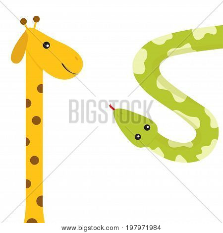 Giraffe with spot. Long neck. Green python snake red tongue. Crawling serpent. Zoo animal friends. Cute cartoon funny card for kids. Isolated. White background Flat design. Vector illustration