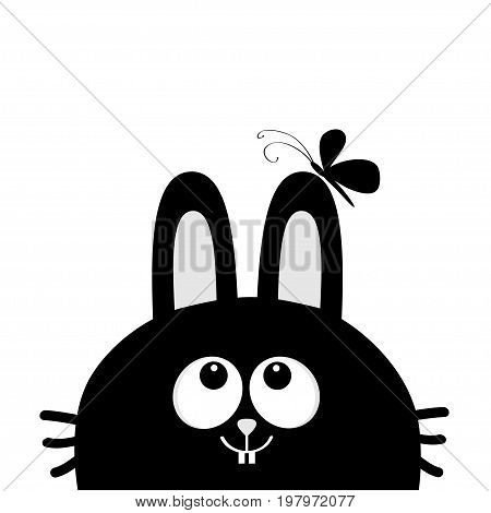 Black rabbit bunny face head silhouette looking up to butterfly on ear. Cute cartoon animal character. Baby card. Sticker print template. Flat design. White background. Isolated. Vector