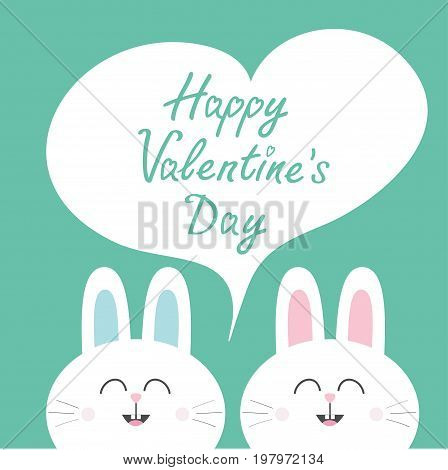 Happy Valentines Day. White bunny rabbit couple. Heart frame template. Cute cartoon smiling character twins. Baby greeting card. Green background. Flat design. Vector illustration
