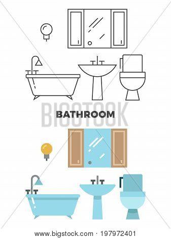 Bathroom concept - flat style and line style bathroom design. Bath and toilet, vector illustration