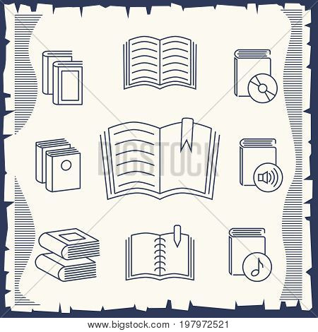 Thin line book collection on vintage background. Collection of books drawing, vector illustration
