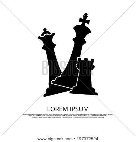 Black chess pieces icon - background with chess. Mind game strategy, vector illustration