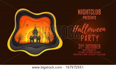 Halloween party web banner design. Creative background with elements are layered separately. Paper art style vector illustration. Festive card with terrible castle and bats. Invitation to nightclub.