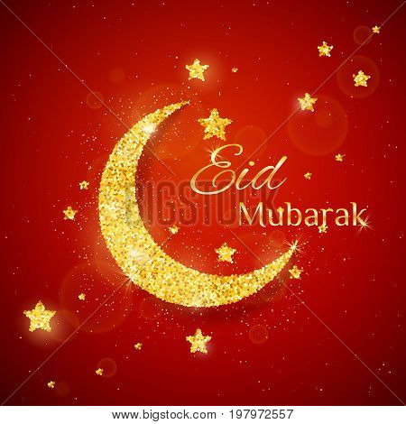 Vector Eid Al Firt background with sparkling glitter golden textured moon with stars on red glow background for muslim holy month. Seasonal holidays greeting card template