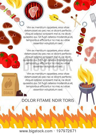 Grill house or barbeque poster design. Picnic party summer banner. Vector illustration