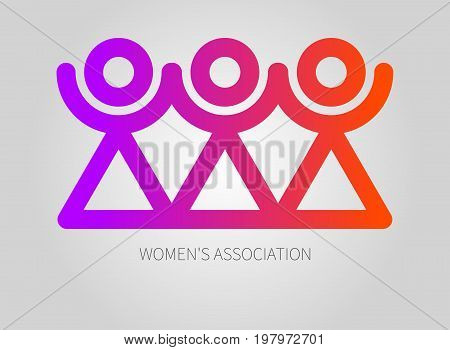 Logo womens association club union. Icon of sorority. Vector illustration