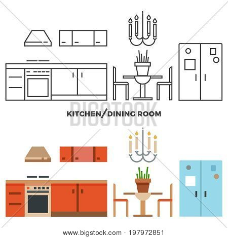 Kitchen and dining room furniture and accessories collection - flat home design icons. Vector illustration