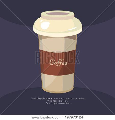 Take away coffee mug poster - cafe poster design. Cappuccino mug, vector illustration
