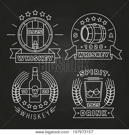 Whiskey and drink labels collection on chalkboard. Alcohol label, vector illustration