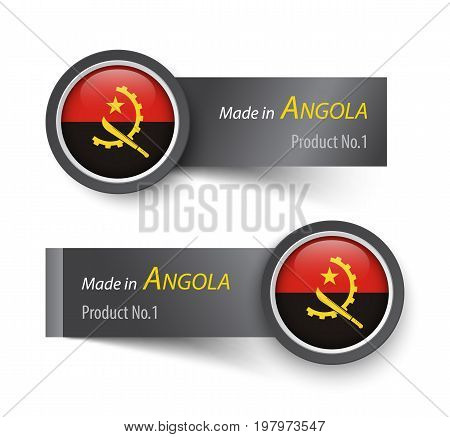 Flag Icon And Label With Text Made In Angola