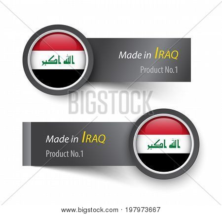 Flag Icon And Label With Text Made In Iraq