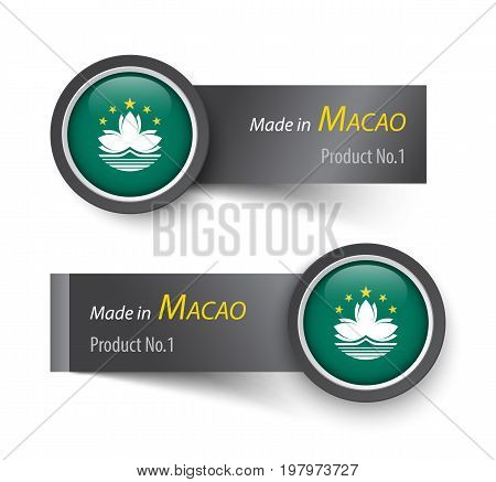 Flag Icon And Label With Text Made In Macao