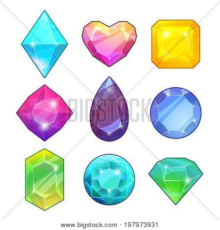 Different gemstones. Brilliants and diamonds in cartoon style. Vector illustrations for game design projects. Diamond and jewel, color brilliant and gemstone