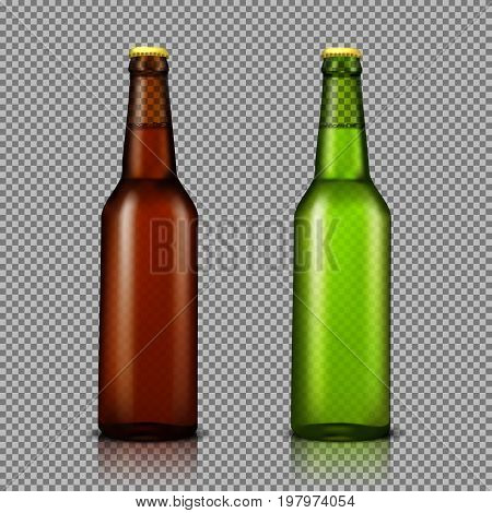 Vector realistic illustration set of transparent glass bottles with drinks, ready for branding, without labels. Brown and green bottles for beer, soda, water isolated, with reflection