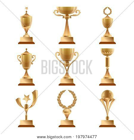 Golden trophy collections, sports award. Vector set isolate. Gold cup for competition sport trophy illustration
