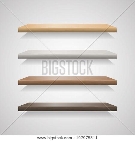 Set of wood shelves on grey background. Wooden bookshelf blank, realistic interior shelf for market or exhibition, vector illustration
