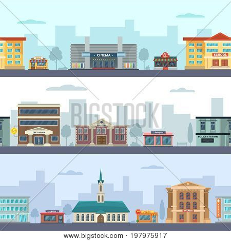 Horizontal seamless pattern of urban landscapes with municipal buildings and different commercial shops and market places. Urban building bank and cinema, museum and pizza. Vector illustration