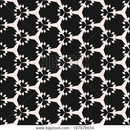 Geometric seamless pattern. Subtle abstract monochrome ornamental texture. Simple geometrical floral shapes, hexagonal grid. Modern dark repeat background. Design element for textile, fabric. Ornamental pattern. hexagon background. Floral pattern.