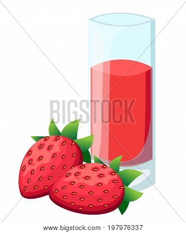 Strawberry juice. A glass of strawberry juice and ice and cherries. Vector Web site page and mobile app design vector element