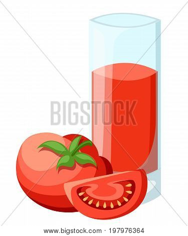 Tomato juice. A glass of tomato juice and ice and cherries. Vector Web site page and mobile app design vector element.