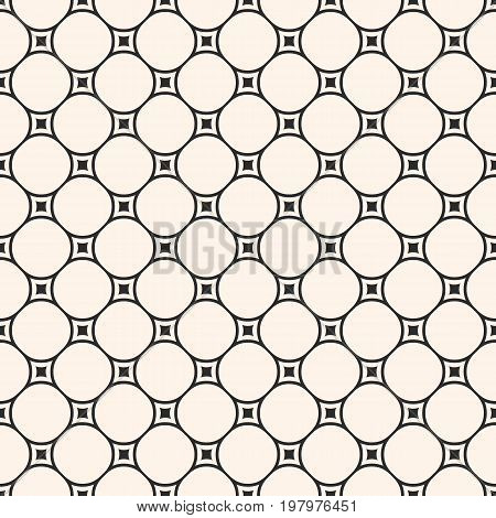 Vector geometric texture, monochrome seamless pattern with circular lattice, mesh, smooth shapes, thin lines. Subtle abstract repeat background. Square design element for prints, textile, home, decor.