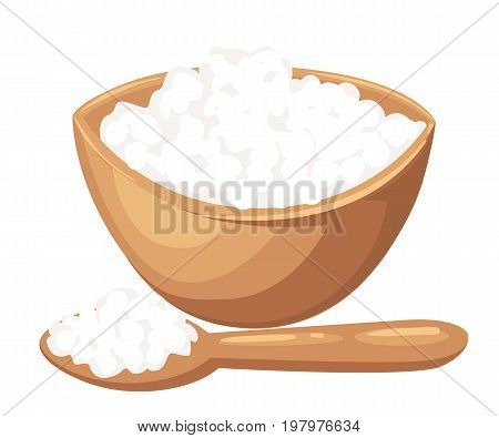 Cottage cheese vector illustration in flat design. Cottage cheese or porridge in blue plate with spoon and herb. Natural and healthy nutrition. For food concept, milk production ad. Isolated on white.
