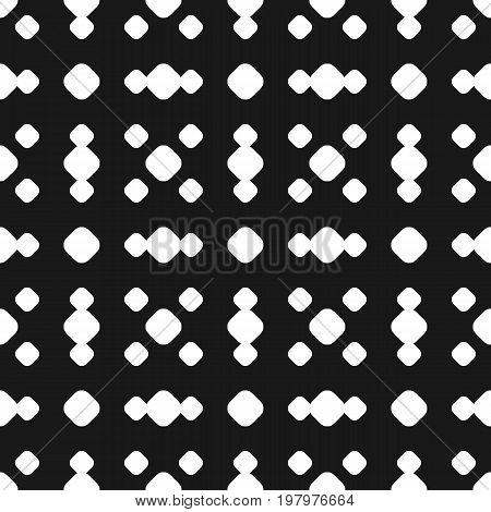 Polka dot seamless pattern, vector black & white subtle dotted texture. Abstract monochrome background with big and small circles in square geometric grid. Dark repeat design for prints, decor, covers. Dots pattern, square pattern, design pattern.