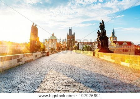 Stunning image of Saint Francis of Assisi Church. Location place Charles bridge (Karluv Most) on river Vltava, Prague, Czech Republic, sightseeing Europe. Popular tourist attraction. Beauty world.