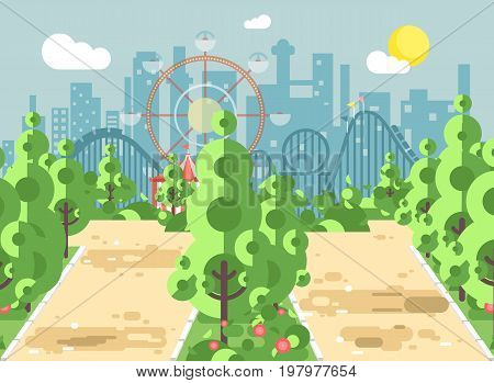 Stock vector illustration of scene landscape, alley, pavement, trees and bushes in amusement park outdoor, roller coaster switchback on background in flat style