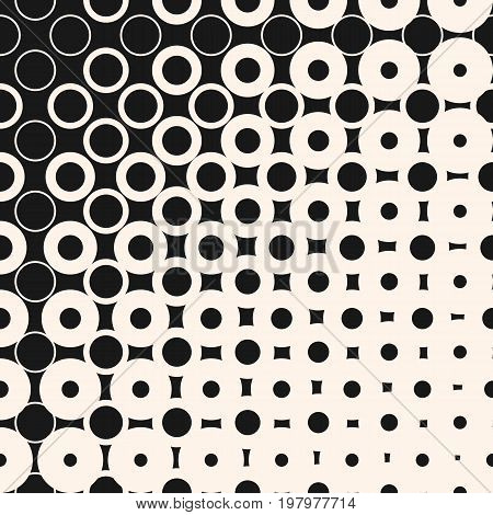 Vector halftone seamless pattern with morphing geometric shapes, circles and squares. Half tone abstract monochrome background. Diagonal gradient transition effect. Stylish modern design element. Halftone background, square pattern.