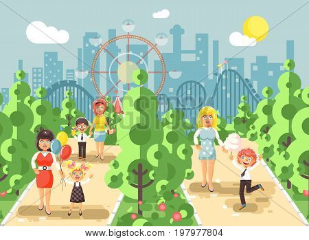 Stock vector illustration walk stroll promenade boy and girl with moms, child s or mother s day, cotton candy on alley pavement amusement park outdoor, roller coaster switchback background flat style