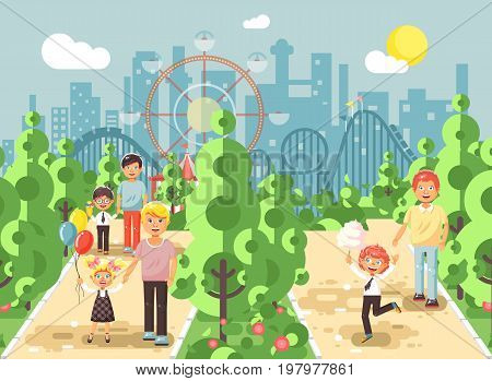 Stock vector illustration walk stroll promenade boy and girl with dads, child s or father s day, cotton candy on alley pavement amusement park outdoor, roller coaster switchback background flat style