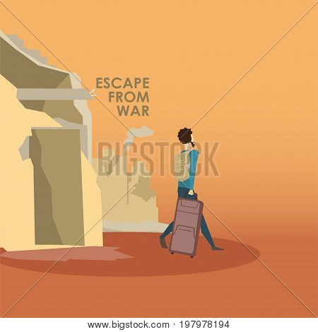 Muslim people. Emigrants. Civil war in Syria Vector illustration