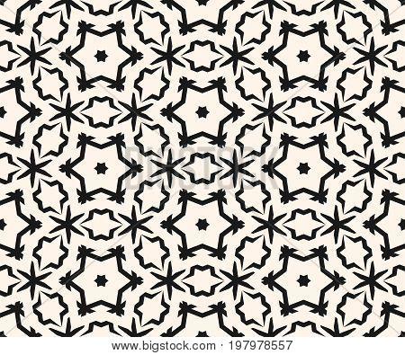 Ornamental seamless pattern. Abstract monochrome linear texture, geometric floral figures, stars. Stars pattern. Stylish ornament background, repeat tiles. Dark delicate design for prints, decor, digital, web. Arabic pattern, oriental pattern.
