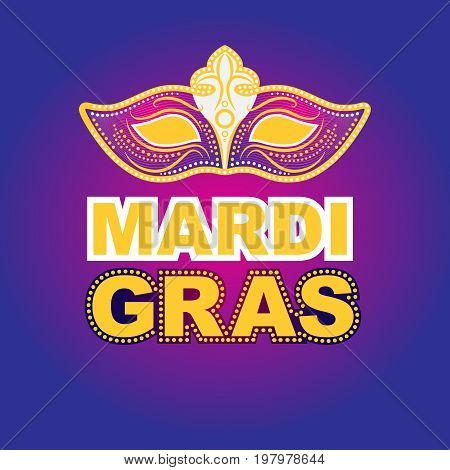 mardi gras greeting card, party invitation, banner or flyer. Vector Illustration.