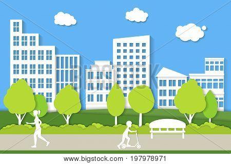 City Landscape Background Paper Art for Web Design Urban Street and Road Scene. Vector illustration