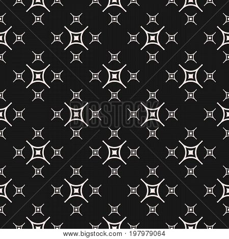 Geometric pattern. Vector minimalist seamless pattern, simple monochrome geometric texture. Diagonal thin lines, smooth squares, repeat tiles. Squares pattern. Stylish dark abstract background. Design for prints, decor, package, covers. X pattern.