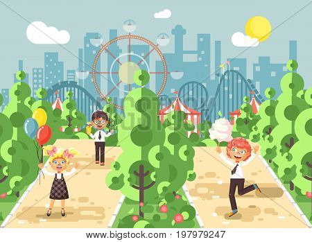 Stock vector illustration walk stroll promenade boys girl children child s day, balloons, ice cream, cotton candy alley pavement amusement park outdoor, roller coaster switchback background flat style