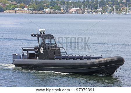 motor boat sailing in Vancouver Island, Canada