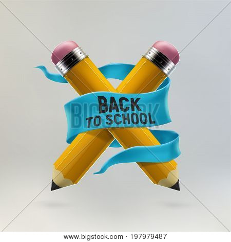 Yellow pencils crosswise and back to school lettering. Realistic 3d vector illustration made with gradient mesh. Education and creativity concept.