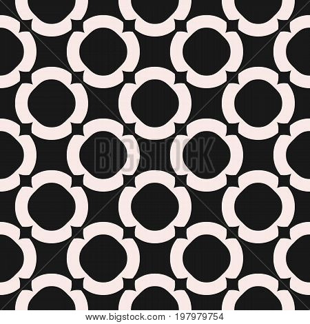Circles background vector monochrome texture, abstract geometric seamless pattern with circular lattice. Old style fashion. Symmetric repeat design for tileable print, decor, fabric, cloth, furniture.