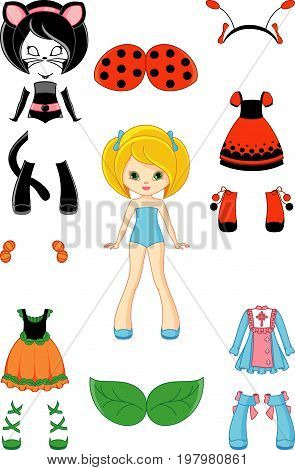 Cartoon paper doll with clothing  for Halloween