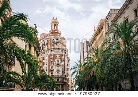 Valencia Spain - June 3 2017: Bank of Valencia Banco de Valencia . Modern architecture in the old city center of Valencia.