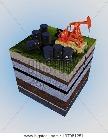 Model of oil on the ground.,3d render