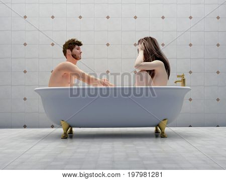 A man and a woman in a bath together.,3d render