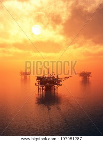 Oil production in the night sea.,3d render